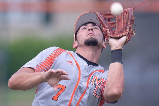 Mercer infielder Garett Delano makes a catch in a March baseball game against Florida A&M.