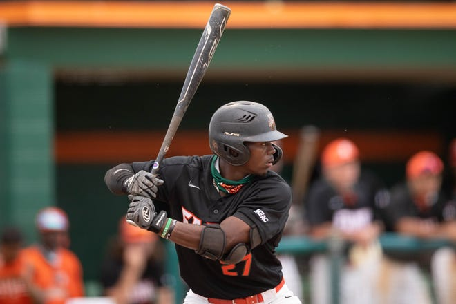 Florida A&M University outfielder LJ Bryant (27) bats during a game between FAMU and Mercer University Tuesday, March 16, 2021.