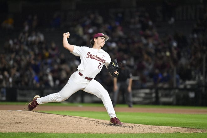 Pitcher Carson Montgomery, who handcuffed the Gators in the March 16 win at Dick Howser Stadium in Tallahassee, is scheduled to start Tuesday at Florida Ballpark.