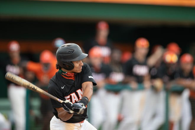 Florida A&M University infielder Octavien Moyer (15) swings during a game between FAMU and Mercer University Tuesday, March 16, 2021.