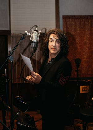 """Paul Stanley, 69, in the recording studio for Soul Station's debut album """"Now and Then."""""""