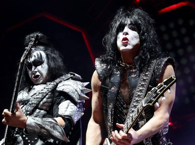 Gene Simmons, left, and Paul Stanley of Kiss performing in Louisville, Kentucky, in 2019.