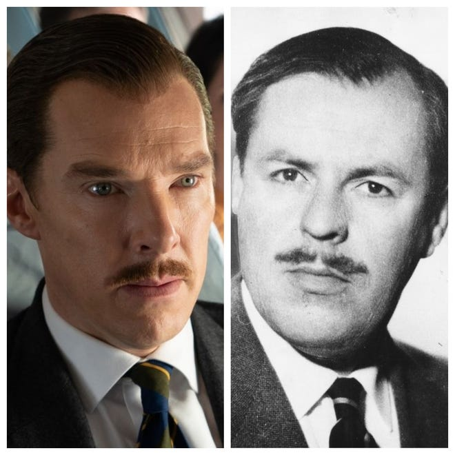 "Benedict Cumberbatch (L) plays real-life Greville Wynne (R) in ""The Courier."""