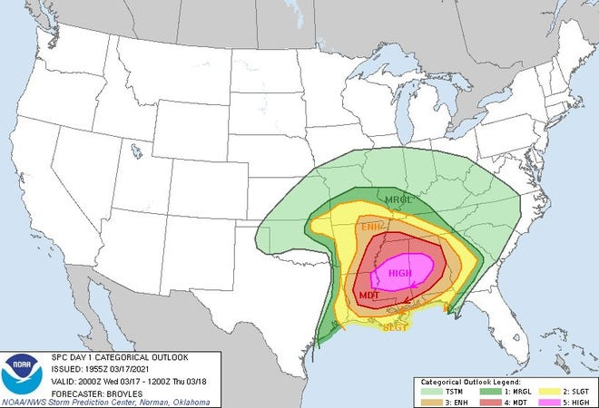 Tornadoes are forecast to roar across the Deep South into the overnight hours of March 17-18. This map shows the area at highest risk (in pink) of tornadoes, across much of Mississippi and Alabama.