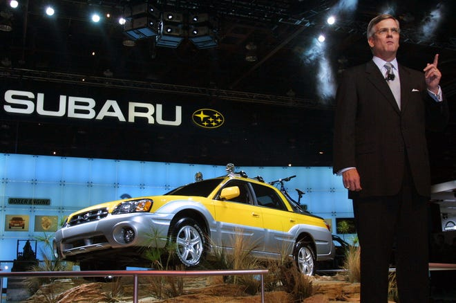 Fred Adcock, executive vice-president of Subaru America, introduces the 2003 Subaru Baja on Monday, Jan. 7, 2002, at the 2002 North American International Auto Show in Detroit.