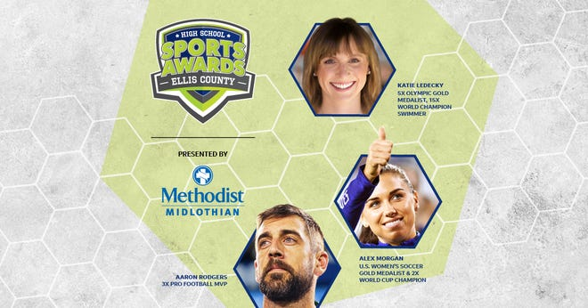Aaron Rodgers, Alex Morgan and Katie Ledecky will be among a highly decorated group of presenters and guests in the Ellis County High School Sports Awards.