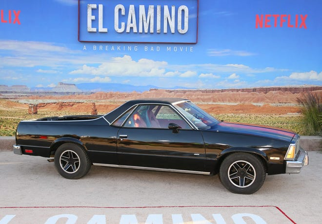 """A Chevrolet El Camino is on display during the premiere of Netflix's """"El Camino: A Breaking Bad Movie"""" at Regency Village Theatre in Westwood, California on Oct. 7, 2019."""