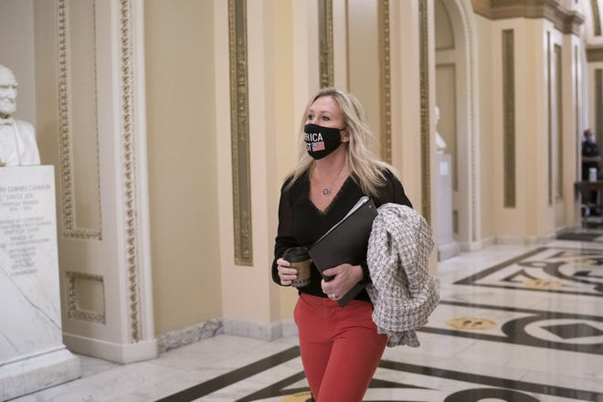 The illiberalism of the right is typified by the likes of Freshman Rep. Marjorie Taylor Greene, R-Ga., Bret Stephens writes. But there's illiberalism on the left, too, he says. [AP Photo/J. Scott Applewhite]