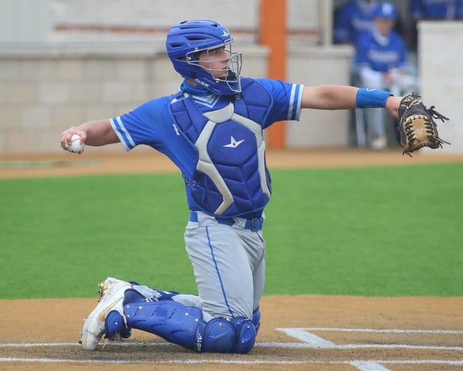 Pflugerville catcher Colton Williams, returning a ball to his pitcher in a game against Westlake earlier in the season, had two hits in the Panthers' 12-1 win over rival Connally Wednesday in District 18-5A play.