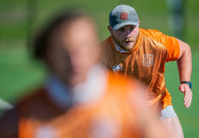 Christian Ostberg runs through drills during an Austin Gilgronis practice at the Round Rock Multipurpose Complex on Thursday. The Stony Point graduate will play with the Major League Rugby franchise after spending four years on a team in France.