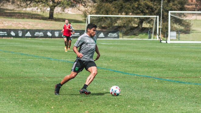 Austin FC forward Rodney Redes cuts upfield during a recent training session at St. Edward's. Redes scored one of four goals Thursday against Louisville FC.