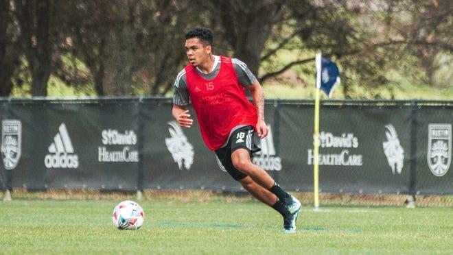 Austin FC midfielder Daniel Pereira eyes passing options during a recent preseason training session at St. Edward's University.