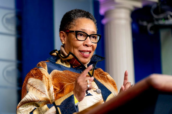 Housing and Urban Development Secretary Marcia Fudge speaks Thursday at a press briefing at the White House. A special primary will be held Aug. 3 to fill her vacated Ohio congressional seat.