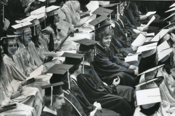 Garfield High School seniors attend their 1978 graduation ceremony in Akron.