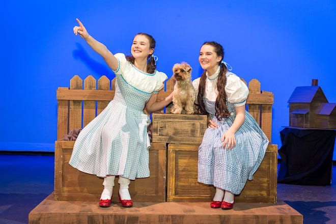 """Amarillo Little Theatre presents """"The Wizard of Oz"""" Dorothy played by two different leads. Zoe Parrish and Hannah Felker and Toto played by Bentley Crespin. [Shaie Williams for Amarillo Globe News]"""