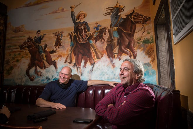 TBonz Steakhouse part-owners Tom Jastrom, left, and Henry Scheer talk about the Washington Road restaurant's history. This year marks 35 years since the restaurant opened in 1986.