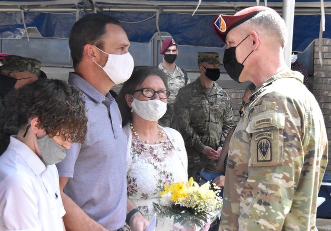 Brig. Gen. David S. Doyle, commander, Joint Readiness Training Center and Fort Polk, speaks with the Family of 1st Lt. Joseph D. Maks, following the re-dedication ceremony.