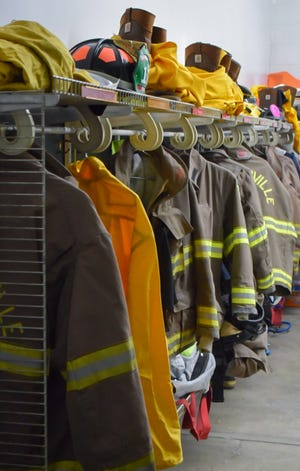 Fire gear lines the walls of the Barnesville Fire Station.