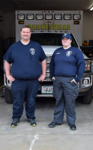 Jeff Lucas and Kate Stover, members of the Barnesville Fire Department, have a combined 20 years of service protecting the area's residents.