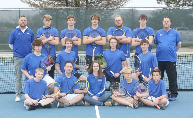 BOONVILLE TENNIS TEAM (front row, left to right) Connor Firman, Seth Thurman, Abigail Pannell-manager, Adam Hult and Logan Haynes. (second row, left to right) Adam VanDyke, Trevor Firman, Tucker Kaiser and Travis Dell. (third row, left to right) Ryan Brimer, coach, Gabe Brimer, Austin Coleman, Gabe Greis, Carter Rowlett, William VanDyke and assistant coach Mark Anderson.