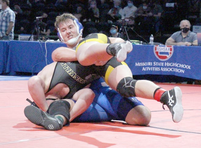 Boonville junior wrestler Peyton Hahn was one match away from advancing to the state championship last week in the 220 pound weight class at Cable Dahmer Arena in Independence. Hahn's only loss of the state tournament came against the eventual state champion from Cassville. Hahn finished the season with 29 wins and has already surpassed 100 wins in his career for the Pirates with another season to go.