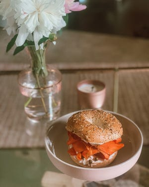 A vegan lox bagel from The Little Kitchen
