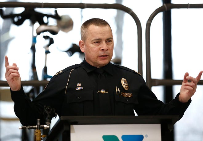 Whitehall Police Chief Mike Crispen speaks at a press conference about Operation Game Over at the Whitehall Community Park YMCA at 402 N. Hamilton Road on Thursday, March 18, 2021.