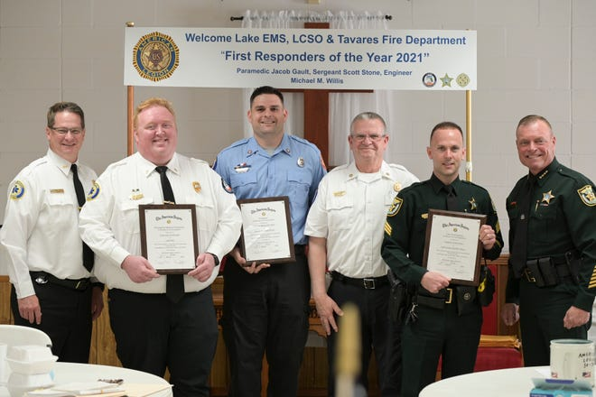 The recipients of the 2021 First Responders of the Year include Paramedic Jacob Gault of Lake EMS, Engineer Michael M. Willis of the Tavares Fire Department and Sergeant Scott Stone of the Lake County Sheriff's Office. [Cindy Peterson/Correspondent]
