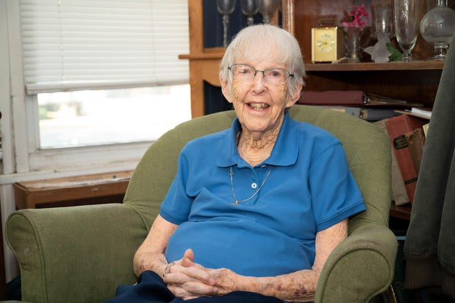Navy Veteran Priscilla Getchell, 100, at her home in Eustis.