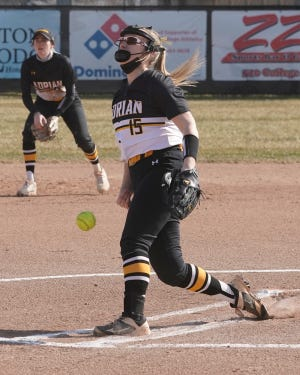 Adrian College's Natalie Mathers delivers a pitch during a game against Defiance on Wednesday.