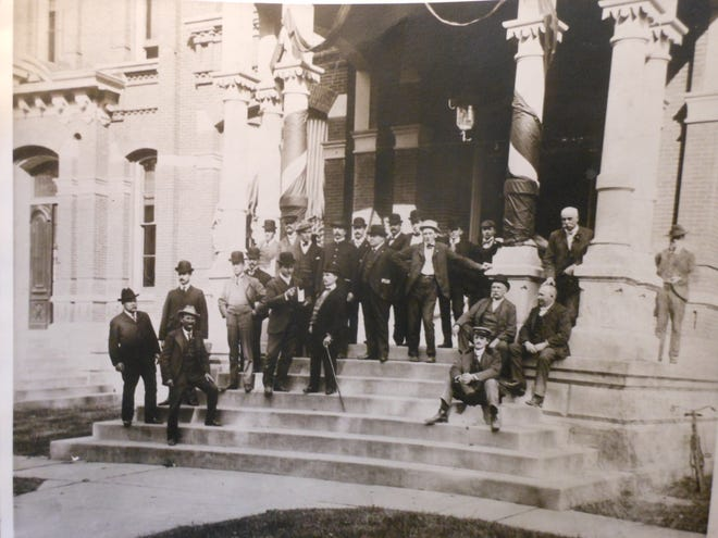 William H. Lee, Esq. is at upper right in this portion of a group picture, date unknown, taken at the Wayne County Courthouse front steps in Honesdale, Pa. (circa early 1900's).  Peter Becker collection