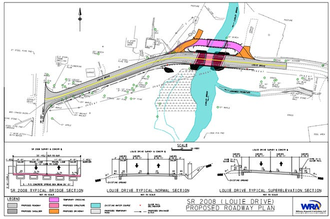 The bridge/road/project are is located/includes on SR 2008 (Louie Drive) east of the intersection with the SR 1001 (Cliff Street) and Louie Drive.
