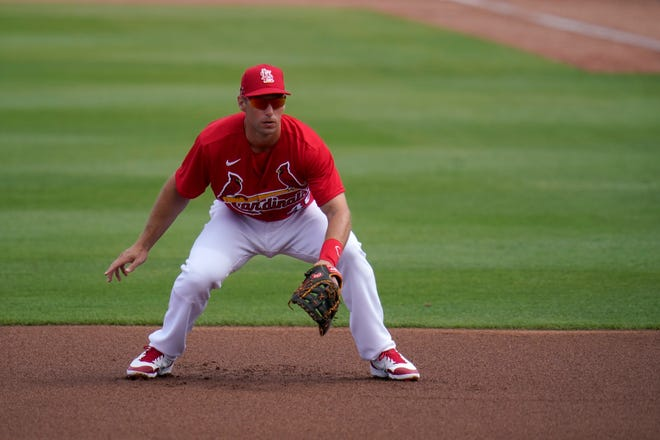 St. Louis Cardinals first baseman Paul Goldschmidt takes up his position during the first inning of a spring training game against the Washington Nationals on Sunday, Feb. 28, 2021, in Jupiter, Fla.