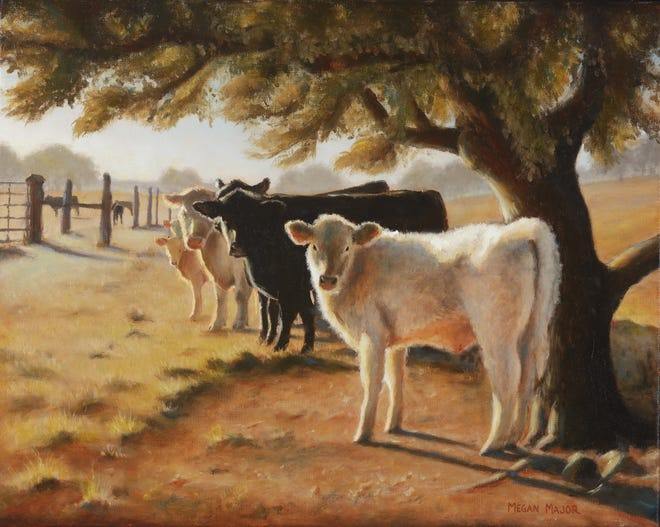 """""""Morning Gather"""" by Megan Major, 2018, oil on canvas. 20"""" x 16"""""""