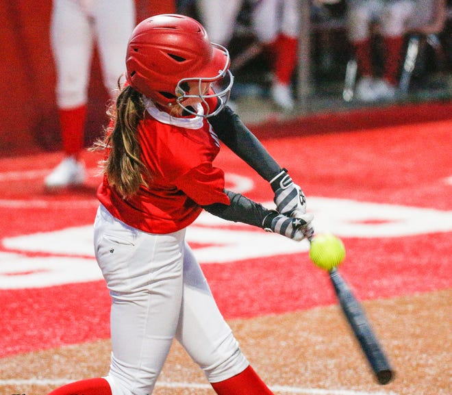 Glen Rose's Mallory Goff, seen here in scrimmage action against Early, is one of the Lady Tigers' top hitters with a .467 batting average.