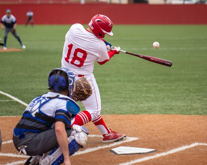 Glen Rose's Jake Gilbreath (18) connects with this pitch for a three-run homer in the 14-4 win over Ford on Saturday.