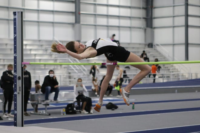Fort Hays State national indoor high jump champion Alexandra Hart competes in a meet earlier this season.