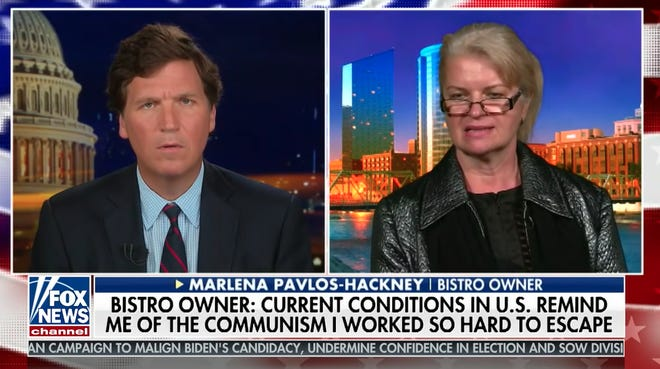 Marlena Pavlos-Hackney speaks to Tucker Carlson on Fox News. The filmed segment aired Wednesday, March 17.
