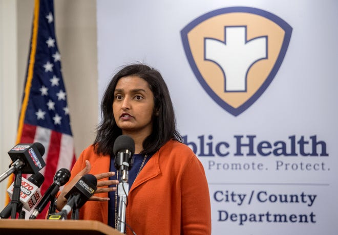 Monica Hendrickson, public health administrator for the Peoria City/County Health Department, gives the weekly COVID-19 update Thursday at the health department facility on Sheridan Road in Peoria.