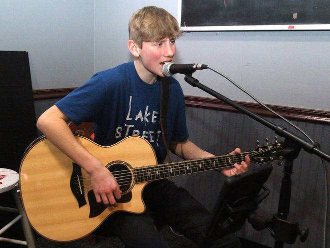 Carson Hartog plays to the crowd on Saturday, March 6, 2021, at The Royal Pub in Freeport.