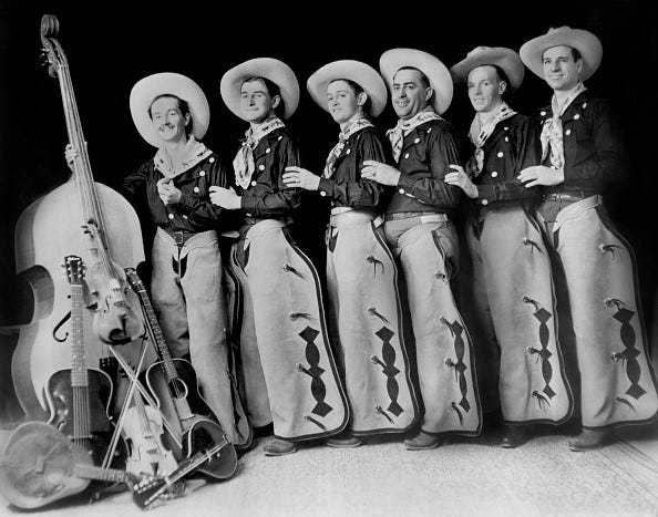 Woody Guthrie, far left, and the Pampa Junior Chamber of Commerce Band in 1936 in Pampa.