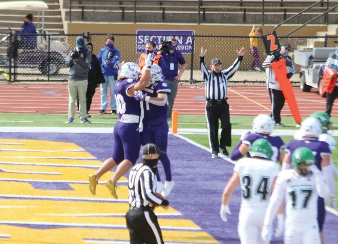 Western Illinois celebrates a touchdown during last Saturday's game against North Dakota.