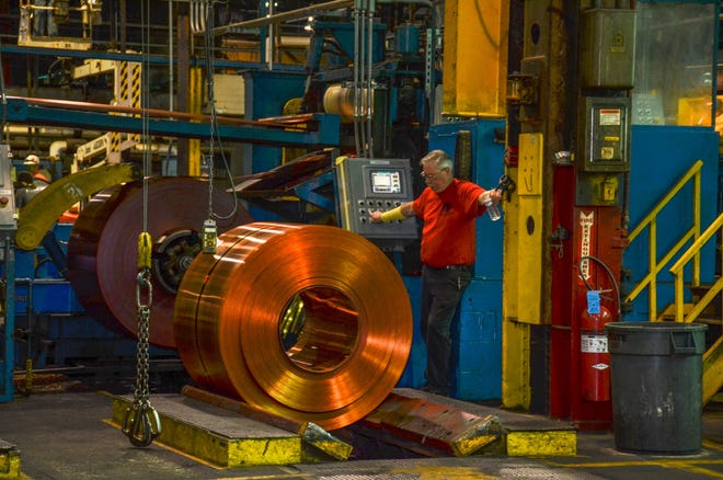 A look inside Revere Copper in Rome. Revere donated antimicrobial copper to the city and also to the Rome Fire Department. Research has shown that viruses cannot survive as long on antimicrobial copper as they can on other metallic surfaces.