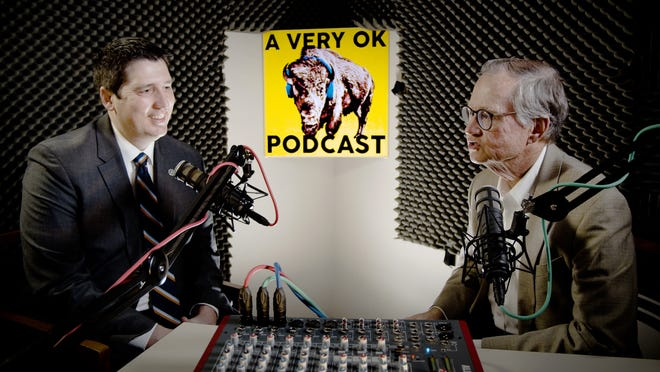 """Trait Thompson, Oklahoma Historical Society executive director, at left, and Bob Blackburn,  former executive director, explore interesting stories and personalities in Oklahoma's history during their monthly """"A Very OK Podcast."""""""