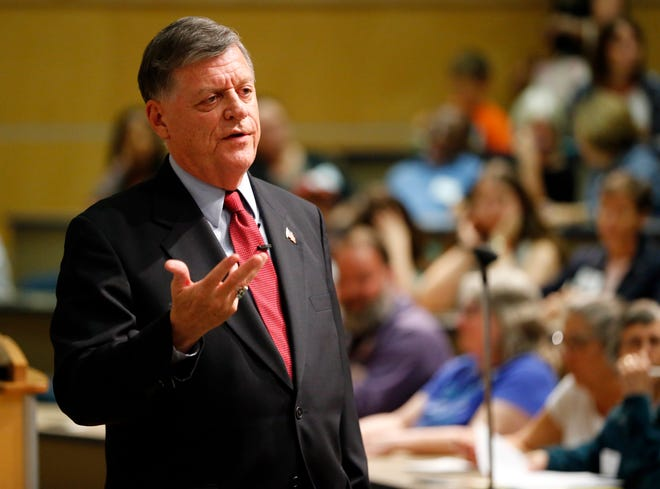 U.S. Rep. Tom Cole speaks Aug. 22, 2017, at a town hall meeting at the National Weather Center on the campus of the University of Oklahoma in Norman.