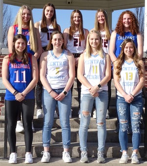 The 2021 Ottawa Herald All-Area Basketball team members are front row (from left), Bethan Pearson, Wellsville; Mary Roehl, Central Heights; Lily Meyer, Central Heights; Taryn Compton, Central Heights; back row, Jayden Troutman, Wellsville; Sofia Ficken, Ottawa; Brooklyn Hadl, Ottawa; Kirsten Evans, Ottawa; Allison Swank, West Franklin. Not pictured is Lexi McDaniel, Wellsville.