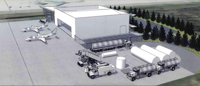 This view of the proposed Million Air Portsmouth fixed base operator service shows the proposed hangar, office area, and fuel tank farm that would be built at 53 Exeter St. at the Portsmouth International Airport at Pease.