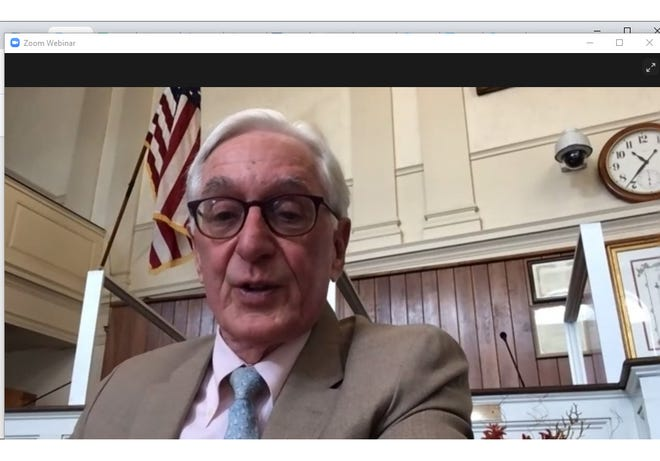 Probate Judge Gregory Fater in a Zoom hearing on the guardianship and $40-million estate of beauty school founder Henri Blain, who is cognitively impaired. Fater has questioned the validity of Blain's marriage to a longtime friend while under guardianship.