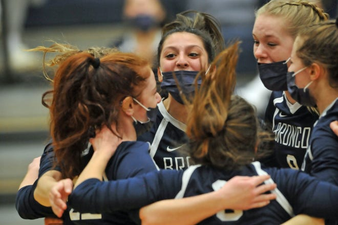 Burrillville's Kara Cournoyer (shown in the Broncos' season opener) had reason to be excited Tuesday - her and her teammates fought hard to pull off a five-set win over regional rival Ponaganset.