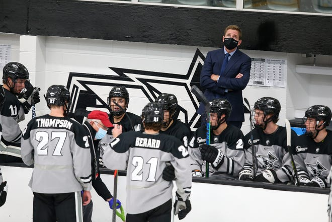 Coach Nate Leaman and the Providence College men's hockey team, shown in a December game, lost at UMass on Wednesday night in the Hockey East semifinal round.